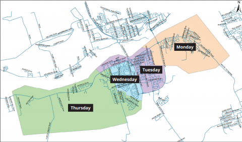 A map overview of the new collection schedule in Riverview