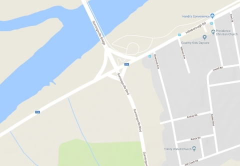 Google maps image of Gunningsville intersection