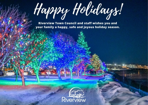 Trees lit up on the riverfront