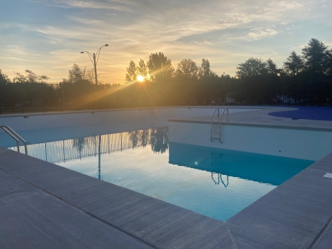 An sunrise shot of the newly-renovated Lion Ken Gabbey Pool
