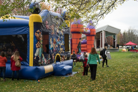 Bounce castles at Harvest Festival in Caseley Park, Riverview NB