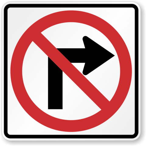No right-turn traffic sign