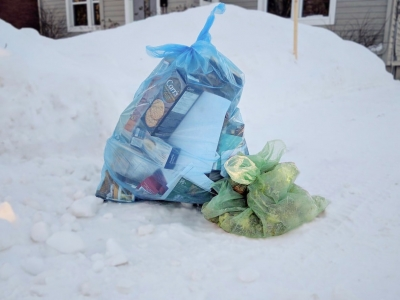 Garbage bags on snow