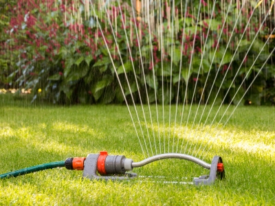 A sprinkler sprays water on a lawn