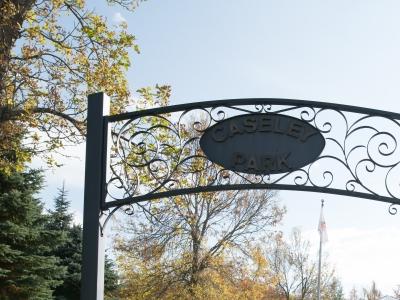 Iron entrance to Caseley Park