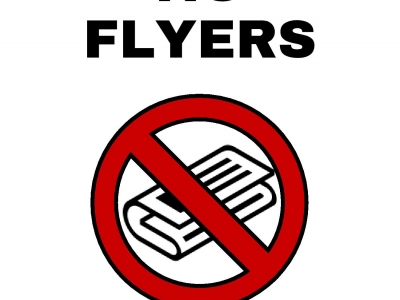 An example 'no flyers' sign to use on your property