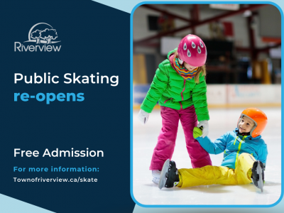 Graphic showing two kids in brightly coloured clothing skating on ice surface.