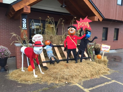 A Pumpkin Personalities display outside Nuttall Restoration